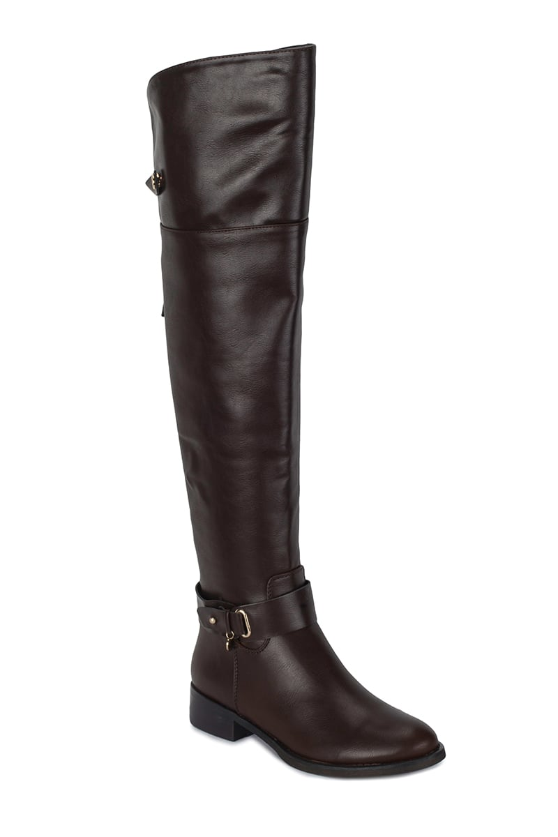 Buckle strap-over knee boot