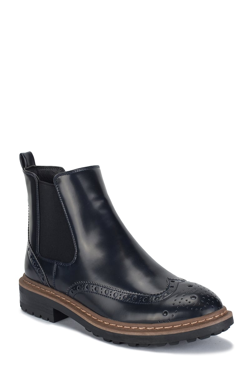 Glossy Brogue Flat Ankle Boots